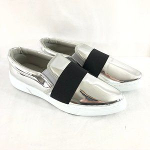 Qupid Womens Slip On Sneakers Shiny Silver Pointed